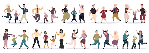 幸せなダンスの家族。子供、お母さん、お父さん、子供たちと一緒に楽しんで踊る親