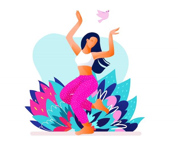 행복 춤추는 소녀 또는 여자 춤 야외 벡터 일러스트 레이 션. 아침 춤. 에어로빅 피트니스 댄스.