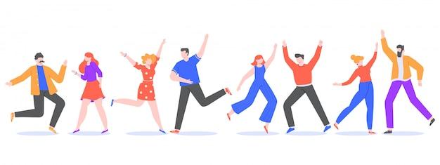 행복한 춤추는 사람들. 함께 춤추는 신나는 현대 캐릭터, 쾌활한 여성 및 남성 댄서. 음악 파티 그림에서 즐거운 친구. 축하. 익명 커플 세트