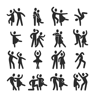 Happy dancing people icons. modern dance class silhouette symbols