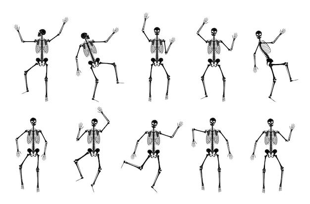 Счастливый танцующий скелет на хэллоуин. мультфильм плоский векторные иллюстрации танец и гимнастика поза.