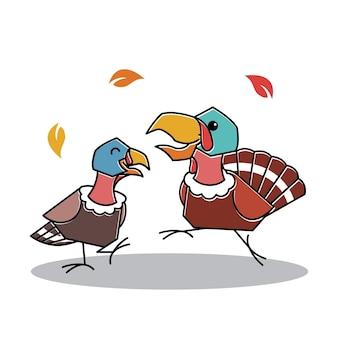 Счастливый танцующий турция птица пара осень осень благодарения персонаж мультфильма