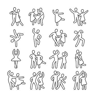 Счастливые танцы женщина и мужчина пара иконок. диско танец образ жизни векторных пиктограмм. иллюстрация пара танцев, счастливый танцор, балет и сальса, латино и фламенко