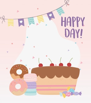 Happy day, sweet cake donuts macaroons and candies  illustration