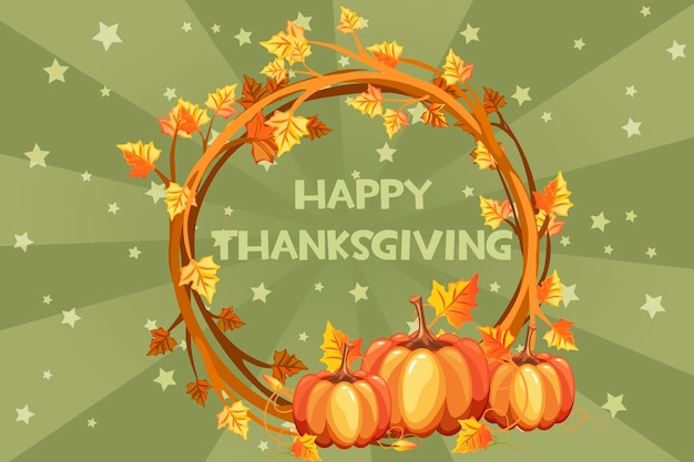 Счастливый день благодарения карты, векторные иллюстрации оранжевый венок с тыквой