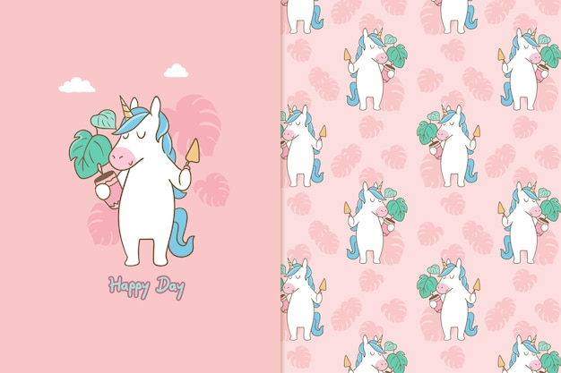 Happy day unicorn seamless pattern
