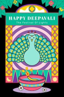 Happy deepavali, la festa delle luci biglietto di auguri con pavone vettore