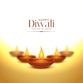 Happy deepawali background with diya lamps