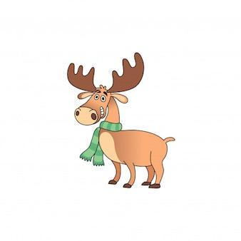 Happy deer cartoon with a scarf