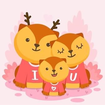 Счастливая семья оленей позирует вместе с текстом, я тебя люблю