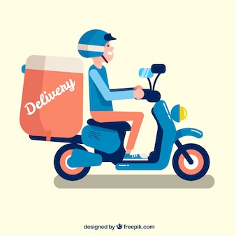 Happy deliveryman with flat design