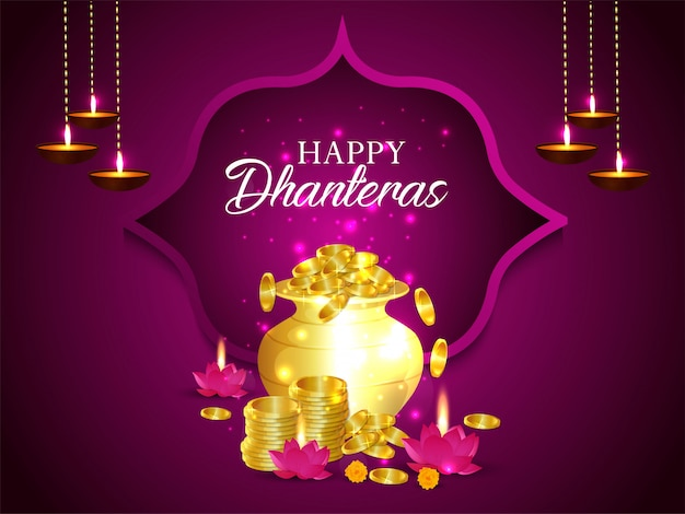 Happy dhanteras background with golden coin pot and lotus