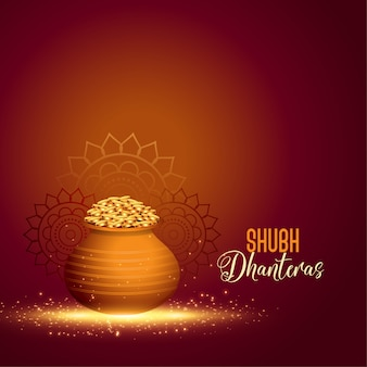Happy dhanteras background with golden coin pot