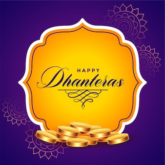 Happy dhanteras background with golden coins design