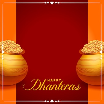 Happy dhanteras background with golden coins pot