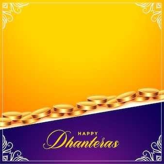 Happy dhanteras background with golden coins and text space