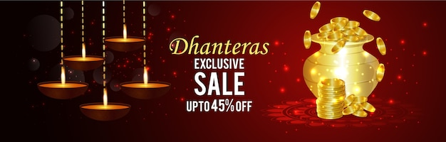 Happy dhanteras banner with celebration