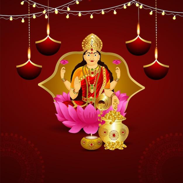 Счастливый фон празднования дхантерас с богиней лаксами
