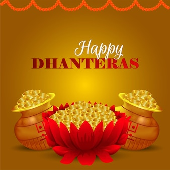 Happy dhanteras celebration background with lotus gold coin pot and gold coin pot