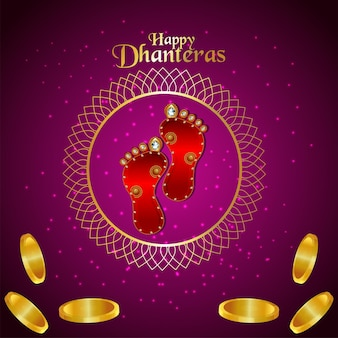 Happy dhanteras celebration greeting card with gold coin and goddesss laxami footprint on purple background