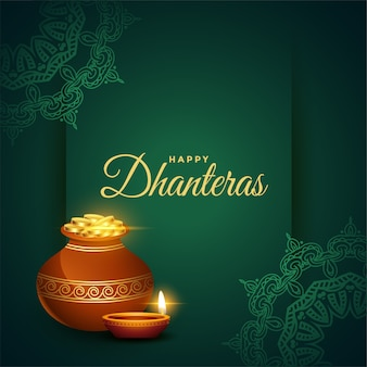Happy dhanteras diwali festival wishes card