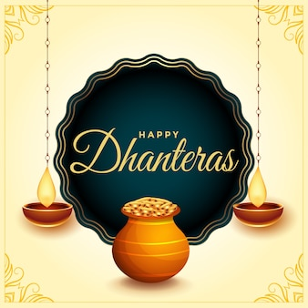 Happy dhanteras festival card with diya and gold coin pot