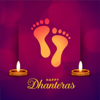 Happy dhanteras festival card with god feet print