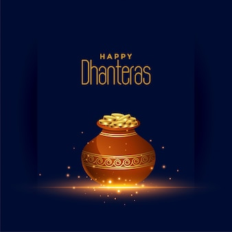 Happy dhanteras festival card with gold coin pot