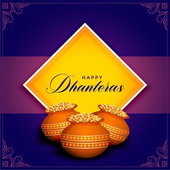 Happy dhanteras festival card with golden coins pot