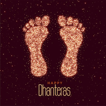 Happy dhanteras festival greeting with feet print