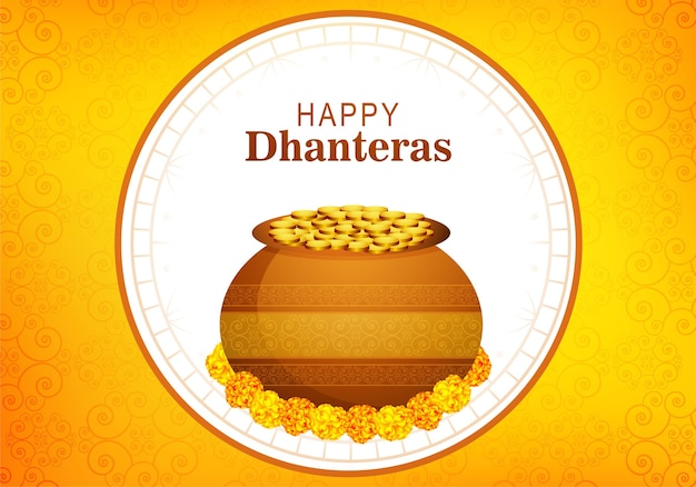Happy dhanteras gold coins pot