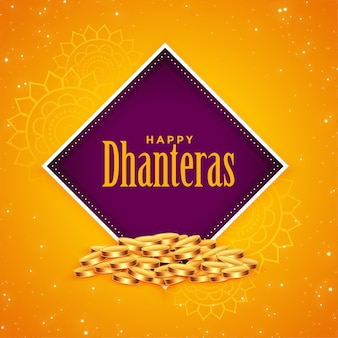 Happy dhanteras golden coins festival background