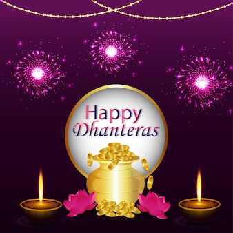 Happy dhanteras , happy diwali celebration background with diya and gold coin pot