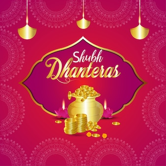 Happy dhanteras indian  festival and background