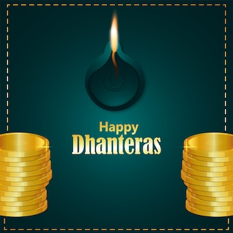 Happy dhanteras indian festival celebration greeting card with gold coin and diwali diya