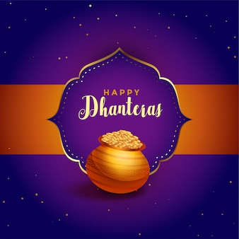 Happy dhanteras purple card with golden pot