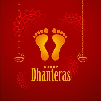 Happy dhanteras red background with god foot prints