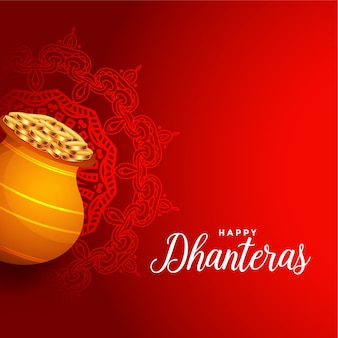 Happy dhanteras red background with golden coin pot