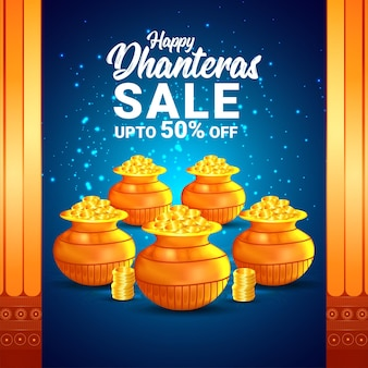 Happy dhanteras sale banner and background