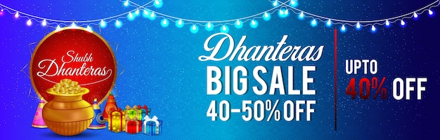 Happy dhanteras sale banner with golden coin