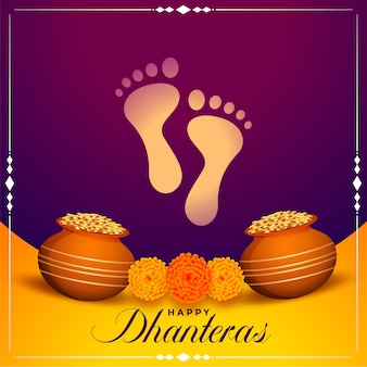 Happy dhanteras wishes background with god foot prints