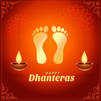 Happy dhanteras wishes with golden god foot prints