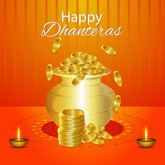 Счастливый дхантерас с горшком с золотой монетой и фоном