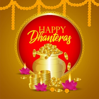 Happy dhanteras with golden coin pot background