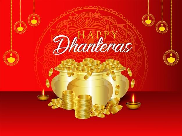 Счастливый dhanteras с фоном горшок с золотой монетой