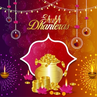 Happy dhanteras with golden coin pot and lotus