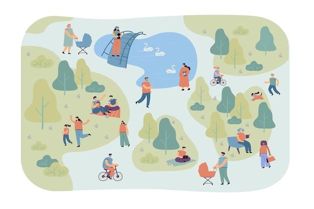 도시 공원 평면 그림에서 걷는 행복 한 다른 사람들