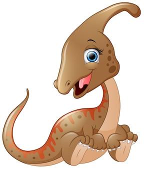 Счастливый мультфильм динозавров, изолированных на белом фоне