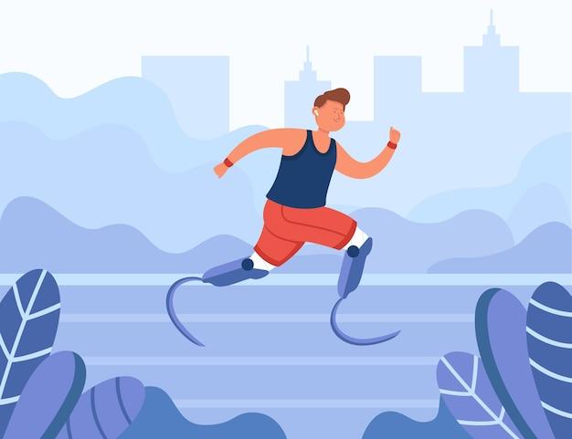Atleta disabile felice che corre nel parco