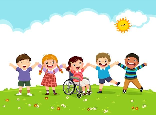 휠체어에 행복 장애인 소녀와 그녀의 친구가 함께 점프